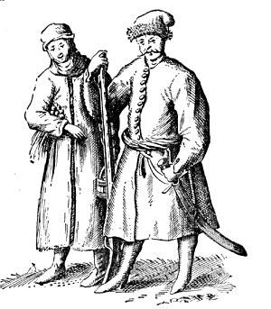 Гравюра казака и казачки из книги Боплана