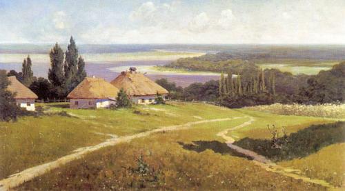 Украинский пейзаж с хатами - автор В.Е.Маковский